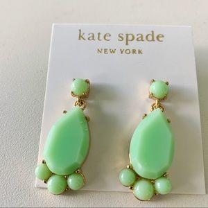 NWT Kate Spade Green stone gold tone post earrings
